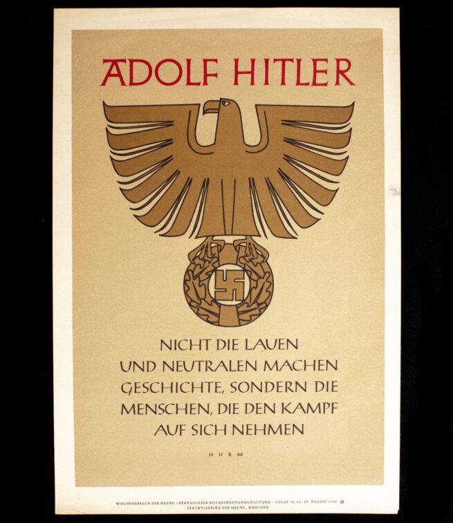 WWII German NSDAP Wochenspruch (propaganda miniposter) (1942)