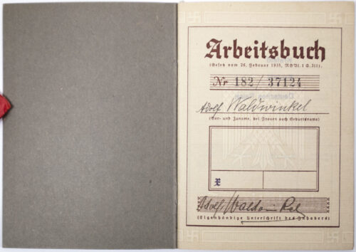 Arbeitsbuch 1e Type + Arbeitsamt Krefeld