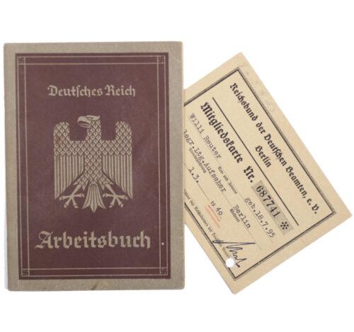 Arbeitsbuch 1e Type + Reichsbund der Deutschen Beamten Mitgliedskarte