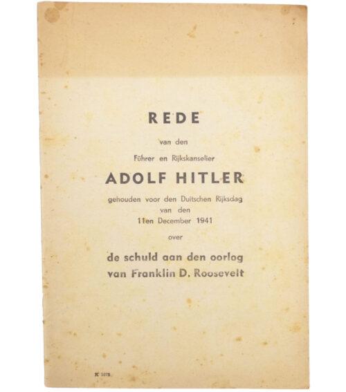(Brochure) Rede van den Führer en Rijkskanselier Adolf Hitler...