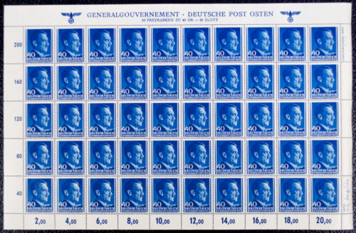 (Stamp) Generalgouvernement - Deutsche Post Osten - Full Sheet of 50 Adolf Hitler stamps