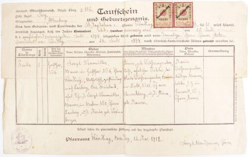 WWII German Ahnenpass (ancestry pass) + Taufschein