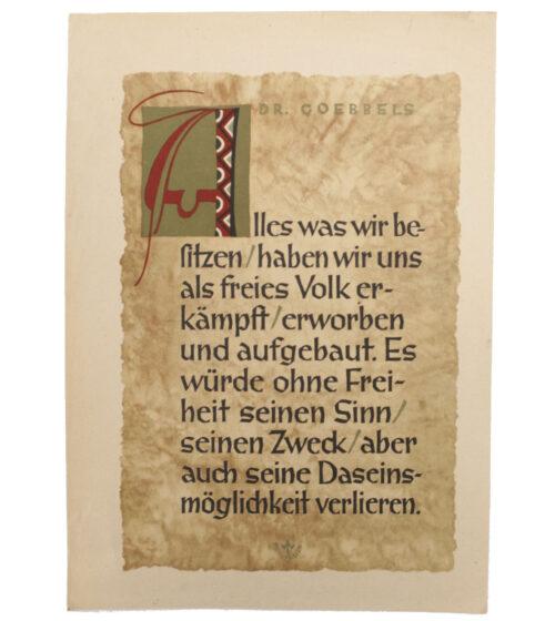 WWII German NSDAP Wochenspruch Dr. Goebbels