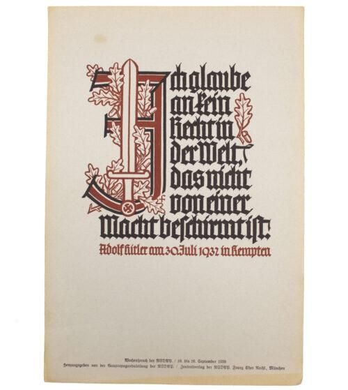 WWII German NSDAP Wochenspruch (Hitler) (1939)