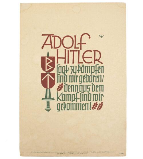 WWII German NSDAP Wochenspruch (Hitler) (1941)