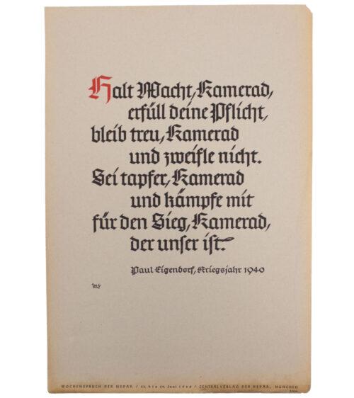 WWII German NSDAP Wochenspruch (Paul Eigendorf) (1940)