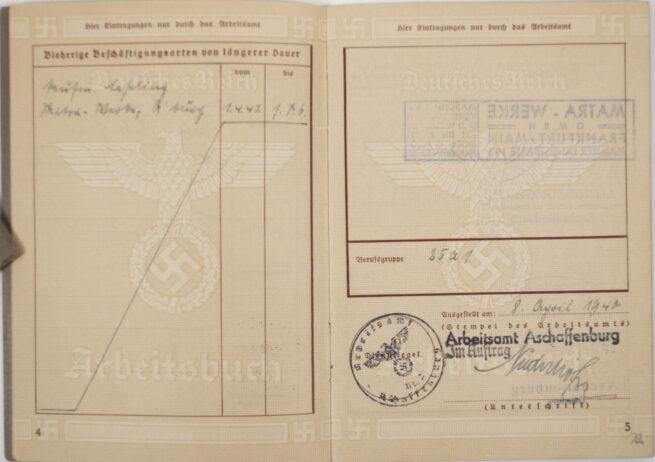 Arbeitsbuch second type Arbeitsamt Aschaffenburg - EXTREMELEY FULL filled in!