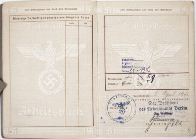 Arbeitsbuch second type Arbeitsamt Berlin (Tempelhof and Siemens!)