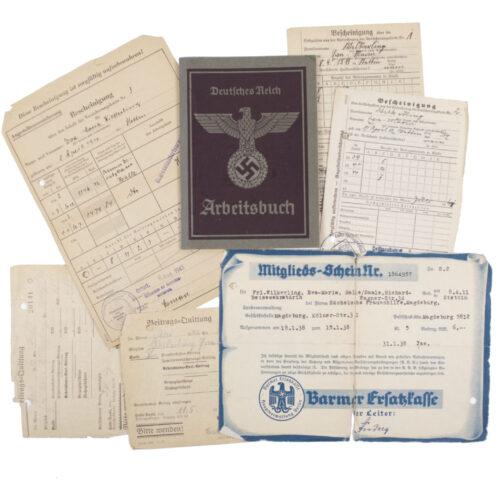 Arbeitsbuch second type Arbeitsamt Halle (with Siebel Flugzeugwerke Eintragung)
