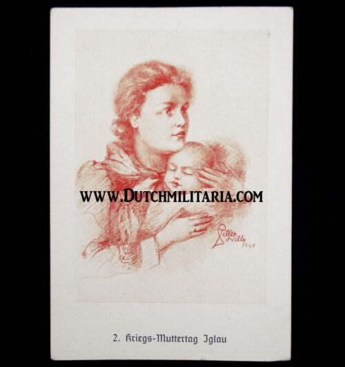 (Postcard) Mutterkreuz Motherscross stamp on 2. Kriegs-Muttertag Iglau card (RARE!)