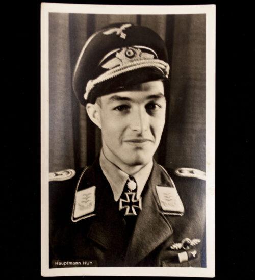 (Postcard) Ritterkreuz mit Eichenlaub Träger Hauptmann Huy