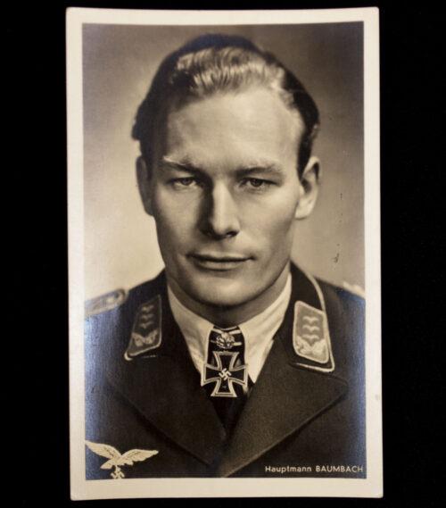 (Postcard) Ritterkreuz with Oakleaves Träger Hauptmann Baumbach