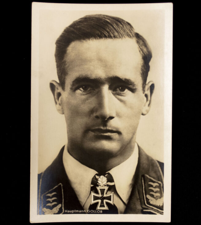 (Postcard) Ritterkreuz with Oakleaves Träger Hauptmann Gollob