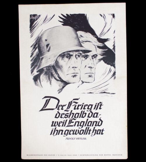 WWII German NSDAP Wochenspruch (Hitler) (1940)