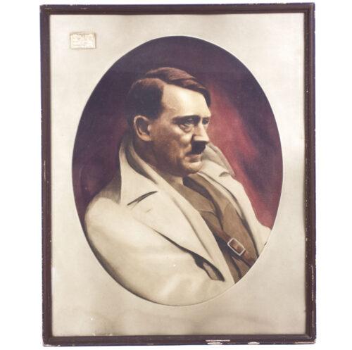 WWII large Adolf Hitler framed Poster-Print 72 x 58 cm)