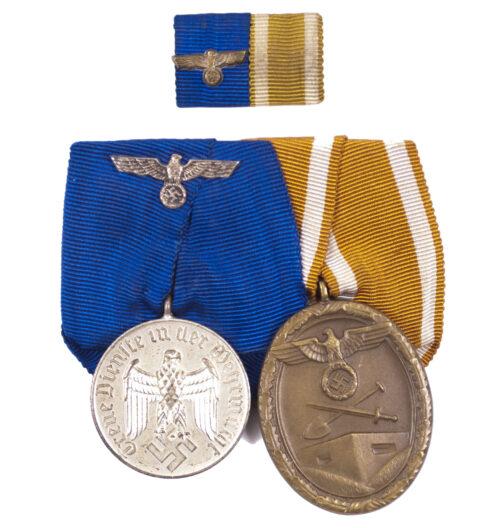 Wehrmacht (heer) Medalbar with Dienstauszeichung 25 Jahre + Westwall medaille