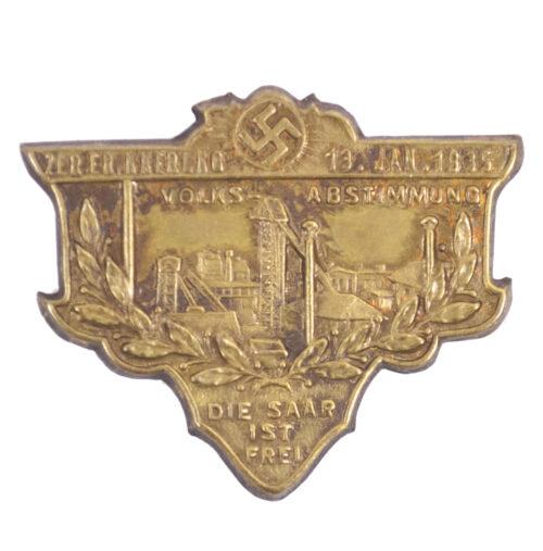 Zur Erinnerung 13.Jan.1935 Volksabstimmung Die Saar ist Frei abzeichen