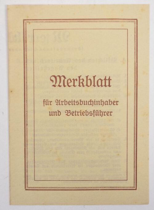 Arbeitsbuch Arbeitsamt Sigmaringen (1937) with Merkblatt