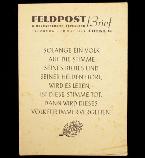 (Brochure) SS-Oberabschnitt Alpenland - Feldpost Brief (1943)