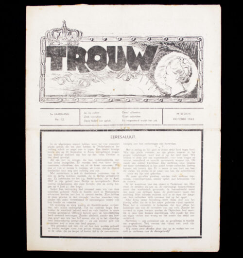 (Illegalresistence newspaper) Trouw 1e. Jaargang No.11 – October 1943