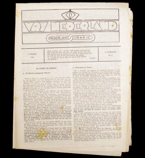 (Illegalresistence newspaper) Vrij Nederland 3e Jaargang No.8 - 21 Maart 1943