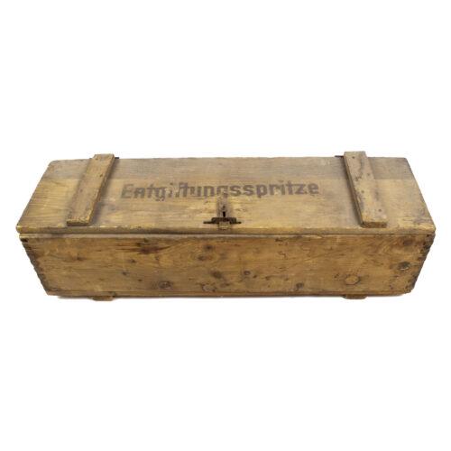 Luftschutz Entgiftungsspritze + original wood crate (1944) - RARE!