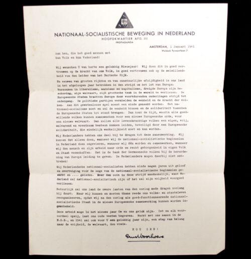 (NSB) Letter by NSB speaker Ernst Voorhoeve (1941)