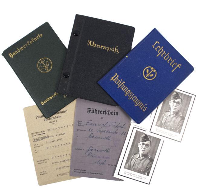 Papergroup with Fuhrerschein, Ahnenpass, Handwerkkarten, and more