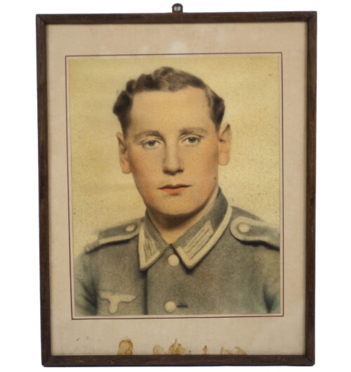 (Photo) Whermacht (Heer) Large framed color photo (size 41 x 32 cm).