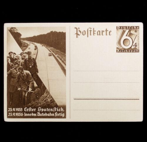 (Postcard) 1933 Erster Spatenstich - 1000 KM Autobahn Fertig (1936)