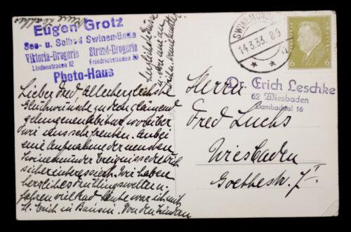 (Postcard) Saluting national socialists in Swinemünde