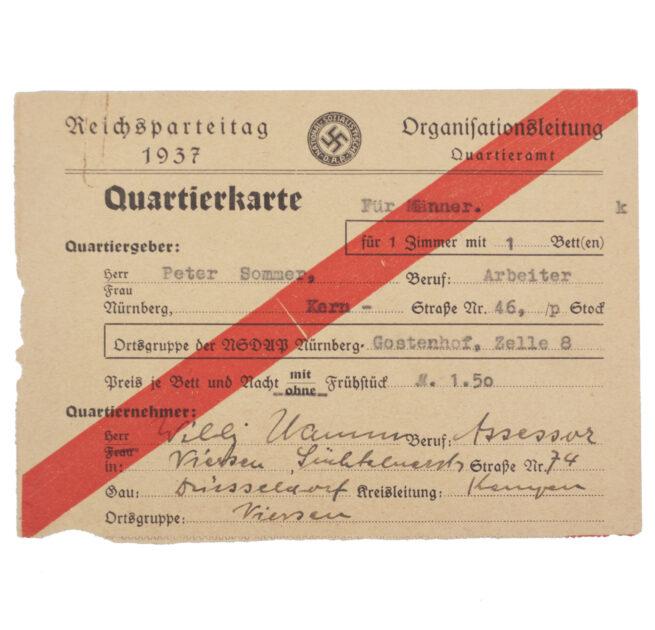 Reichsparteitag 1937 - Organisationsleitung Quartieramt - Quartierkarte