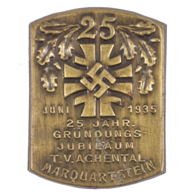(Turnerbund) 25 Jahr. Gründungsjubiläum T.V. Achental Marquerstein Juni 1935 abzeichen