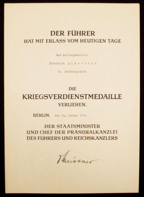 WWII German citationgroup with Kriegsverdienstmedaille + Treudienst Ehrenzeichen 25 Jahre