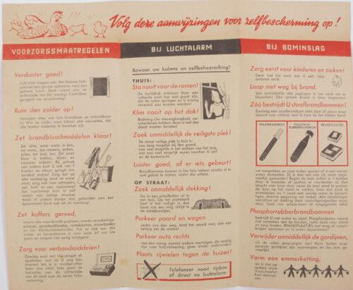 WWII Luchtbeschermingsdienst (LBD) folder Vliegtuigen ronken, Brandbommen vallen...