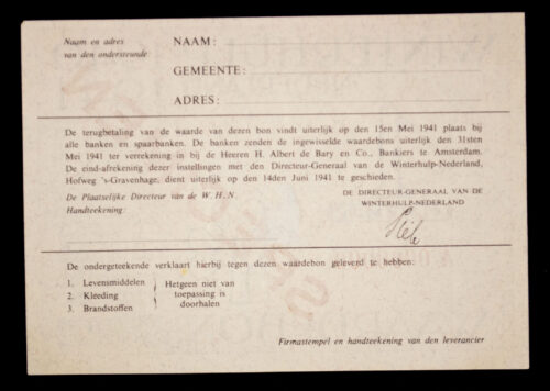 Winterhulp Nederland 1940-1941 (WHN) 1 GULDEN Waardebon (Specimen)