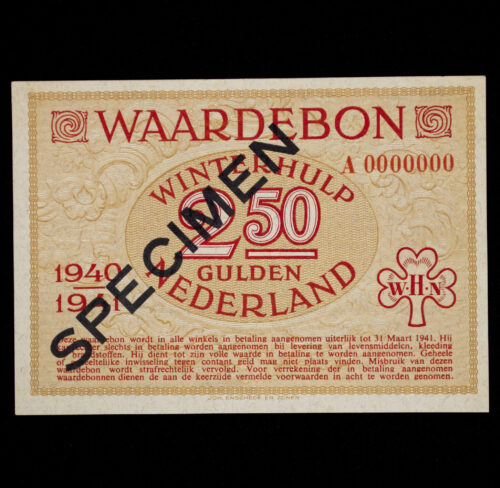 Winterhulp Nederland 1940-1941 (WHN) 2,5 GULDEN Waardebon (Specimen)