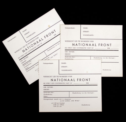 Zwart Front Nationaal Front Aanmeldingskaart (Arnold Meijer) (rare!)