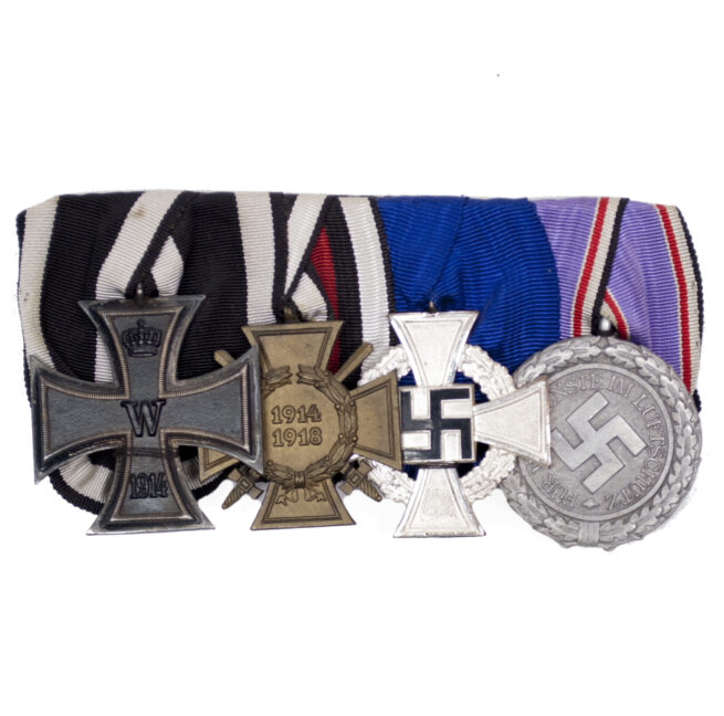 German WWII Medalbar with EK2, Frontkämpfer, Treue Dienst and Lutschutzmedal