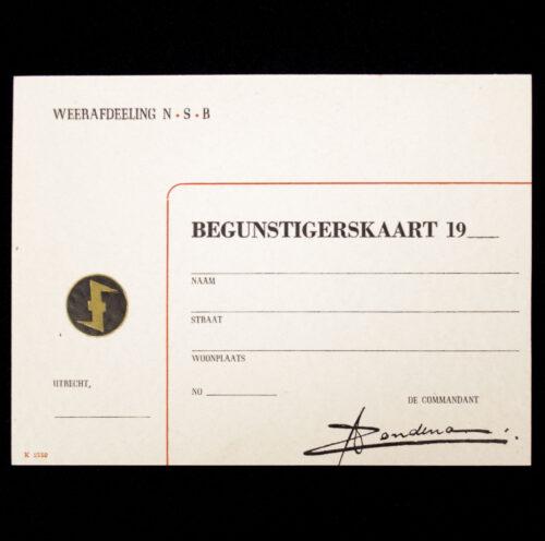 (NSB) Weerafdeling N.S.B Begunstigerskaart
