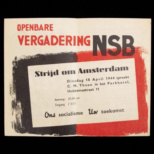 (NSB) announcement flyer Openbare Vergadering in Amsterdam (1944)