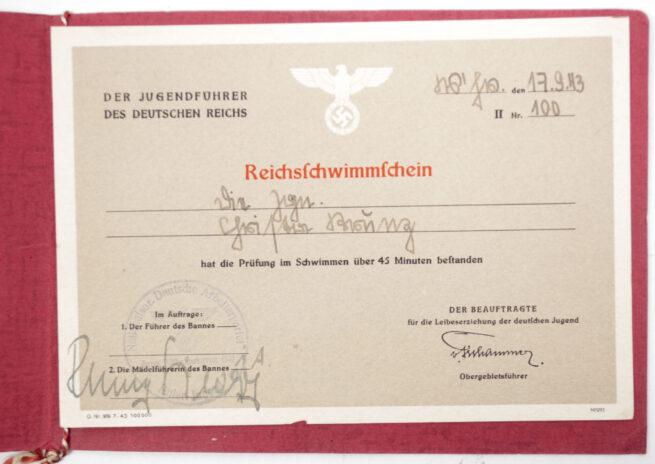 NSDAP Hitlerjugend (HJ) NSRL - Reichsschwimmschein (1943)