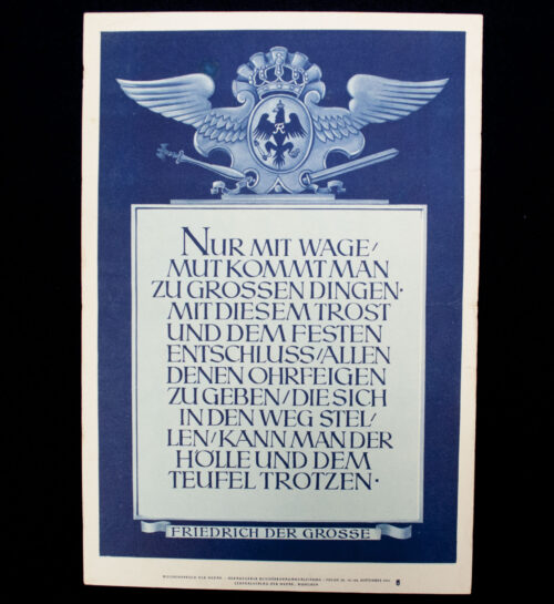 WWII German NSDAP Wochenspruch (Friedrich der Grosse) (1941)