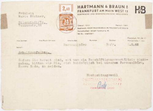 Arbeitsbuch second type from Arbeitsamt Frankfurt a.M.