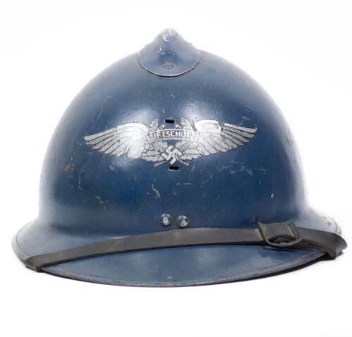 French Beutehelm (!) used as Reichsluftschutzbund (RLB) Helmet