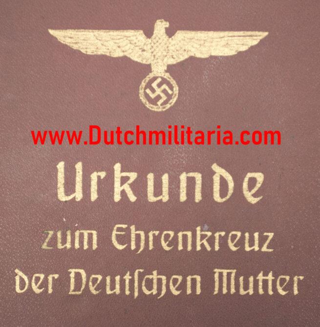 Luxuary Citationmap Urkunde zum Ehrenkreuz der Deutschen Mutter (EXTREMELY RARE!)