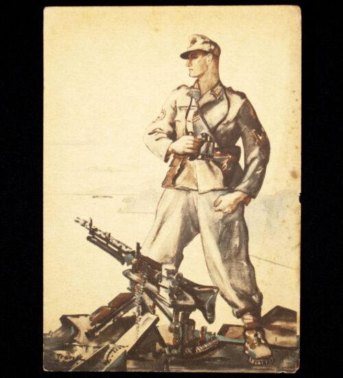 (Postcard) Grenadier with MG34 machinengewehr (with Feldpostnumber!)