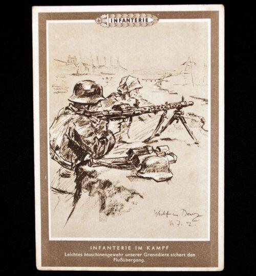 (Postcard) Infanterie im Kampf - Leichtes Maschinengewehr unserer Grenadiere sichert den Flussübergang