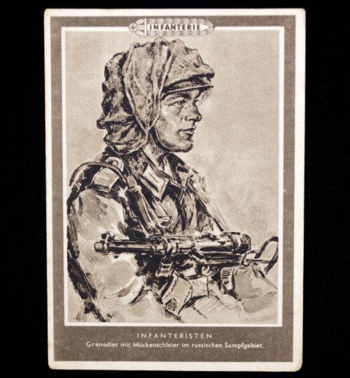 (Postcard) Infanteristen - Grenadier mit Mückenschleier im russischen Sumpfgebiet