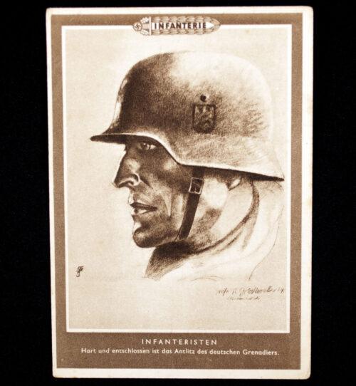 (Postcard) Infanteristen - Hart und entschlossen ist das Antlitz des deutschen Grenadier